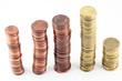 Pile di monete viste dall'alto