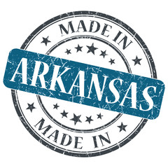 made in Arkansas blue round grunge isolated stamp