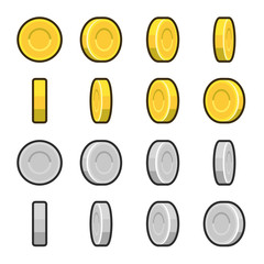 Gold and Silver coins with different rotation angles.