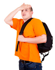 young tourist man with backpack, white background