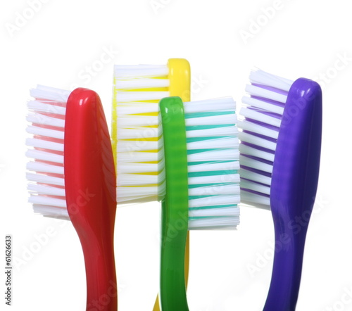 Coloured Toothbrushes on white background