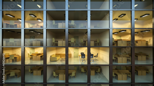 Inside modern office building at night
