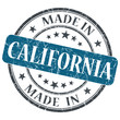 made in California blue round grunge isolated stamp