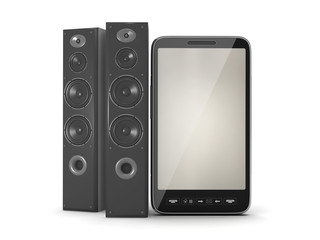 Large audio speakers and cell phone