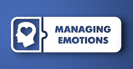 Managing Emotions on Blue in Flat Design Style.