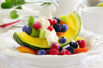 Fruit salad with watermelon.
