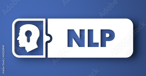 NLP Concept on Blue in Flat Design Style.