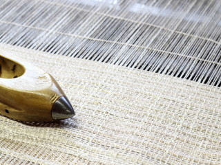 Cotton fabric on the loom