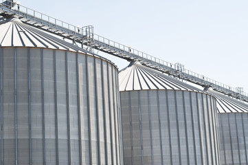 Wheat silos in a row