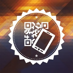QR Code with Smartphone on Triangle Background.