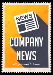 Company News on Yellow in Flat Design.