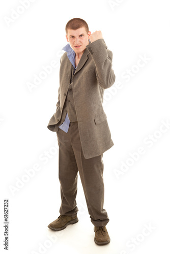angry drunk young man, full lenght, white background