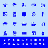 Bathroom color icons on blue background