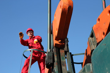 Oil Industry Worker Gesturing.