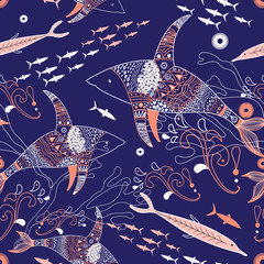 sea ??pattern with sharks