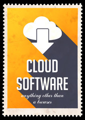 Cloud Software on Yellow in Flat Design.