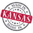 made in Kansas red round grunge isolated stamp