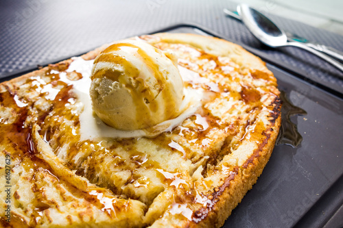 french toast with Butter and Ice cream