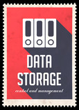 Data Storage on Red in Flat Design.