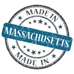 made in Massachusetts blue round grunge isolated stamp