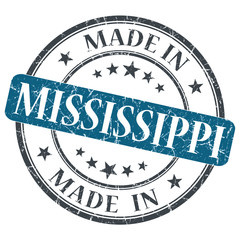 made in Mississippi blue round grunge isolated stamp