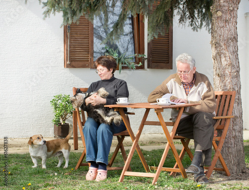 Senior couple with dogs