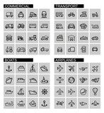 vector black transport icons set