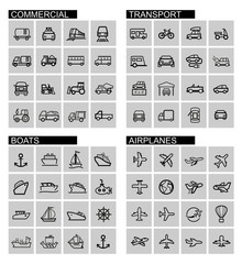vector black transport icons set