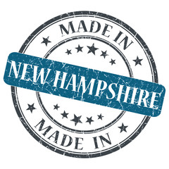 made in New Hampshire blue round grunge isolated stamp