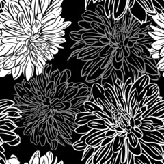 Monochrome seamless background with flowers. Vector illustration