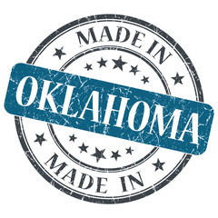 made in Oklahoma blue round grunge isolated stamp
