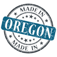 made in Oregon blue round grunge isolated stamp