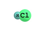 Hydrogen chloride molecular structure on white poster
