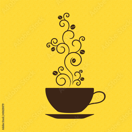Cup of coffee with floral ornamental steam over burlap texture