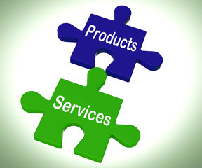 Products Services Puzzle Means Company Goods And Service