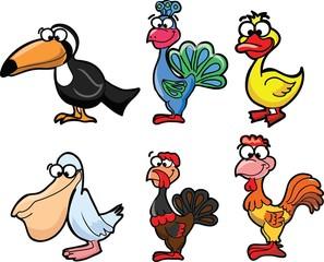 Набор милые птицы мультфильмов