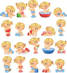 Векторная иллюстрация мальчиков и девочек-младенцев