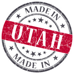 made in Utah red round grunge isolated stamp