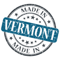 made in Vermont blue round grunge isolated stamp