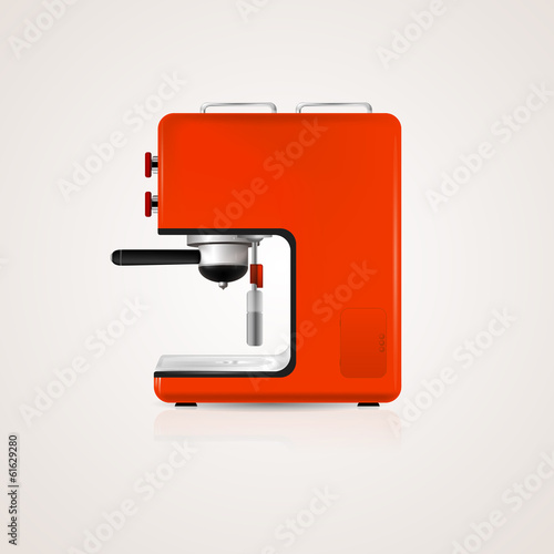 Illustration of red coffee machine