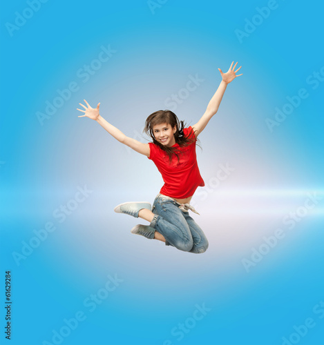 smiling girl jumping