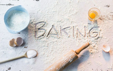 Flour with baking utensils