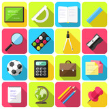 Vector set of flat school icons