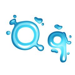 Alphabet water letter Q