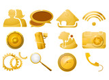 Glossy golden icon set on a white background