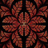 Fabulous symmetric pattern of the leaves in orange and black. Co