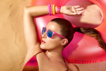 Fashion Girl Portrait. Beautiful Young Woman Sunbathing. Relax