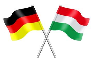 Fahnen: Deutschland und Ungarn