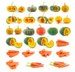 pumpkin, carrot isolated on white background