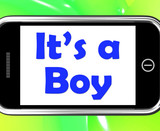 It's A Boy On Phone Shows Newborn Male Baby